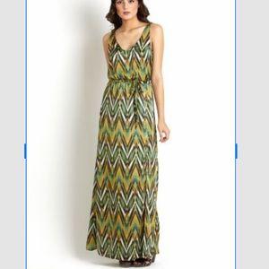 Eight sixty green diagonal print maxi dress